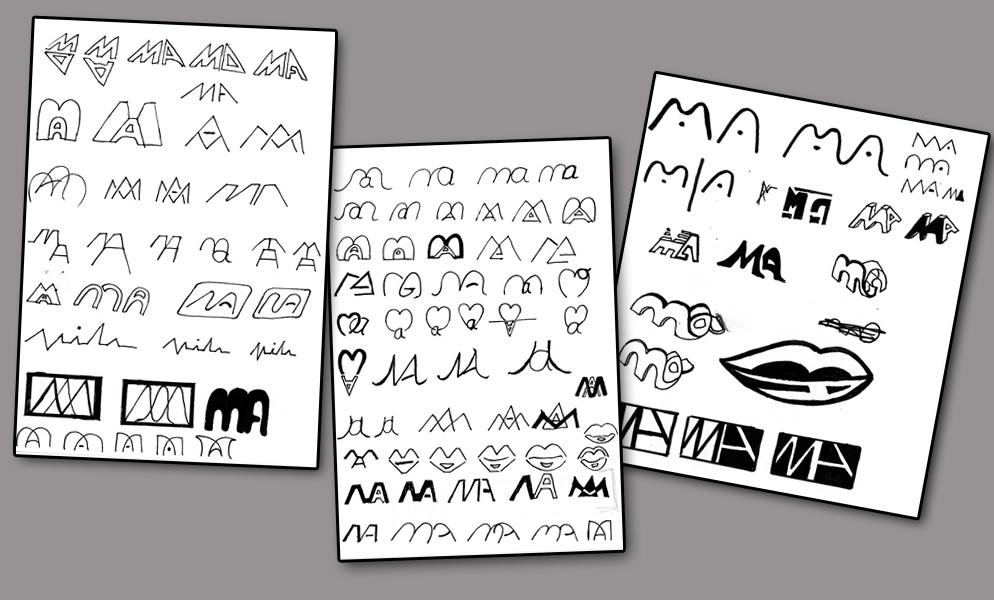 3 Blatt Papier mit Monogramm Scribbles